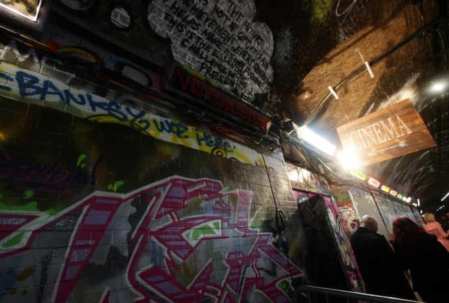 A pop-up cinema inside Leake street tunnel in Waterloo, London.
