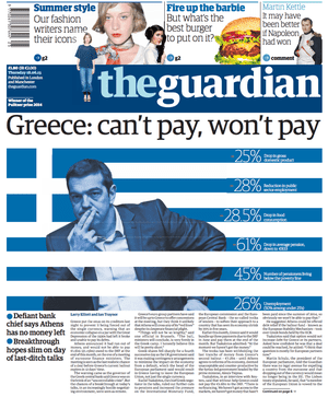 The Guardian frontpage on 18 June 2015.