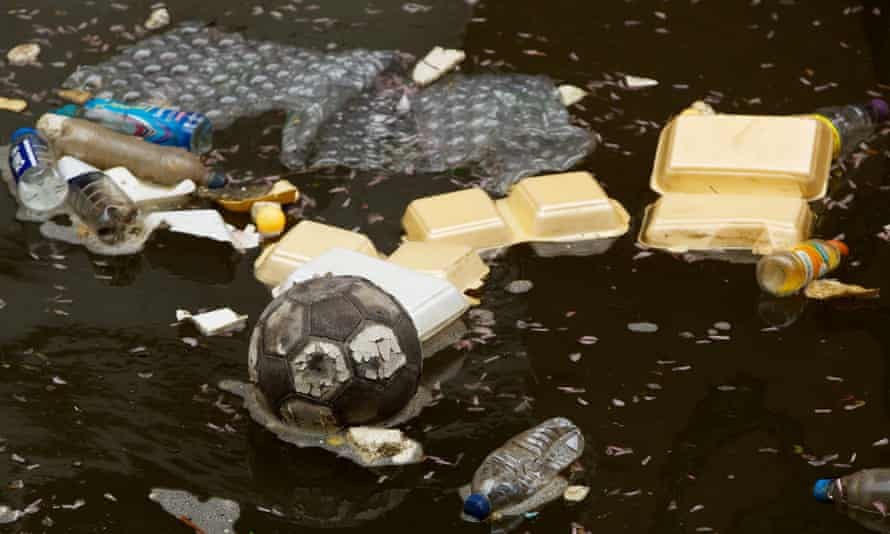 Debris floating through the city's streets often finds it final resting place in this stretch of the canal.