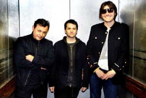 James Dean Bradfield, Sean Moore and Nicky Wire of Manic Street Preachers in 2013.