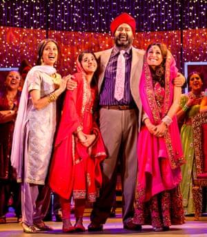 The Bhamra family played by, from left to right Natasha Jayetileke, Natalie Dew, Tony Jayawardena  and Preeya Kalidas.