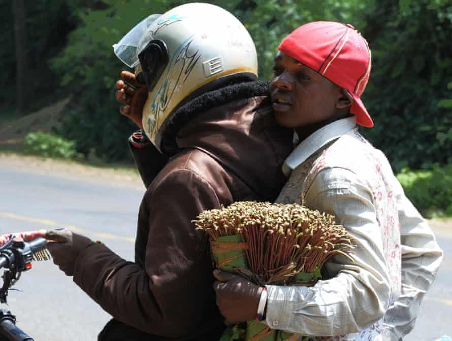 Khat trader in Meru – some 300 kilometres north of Nairobi – deliver the herb on a motorbike.