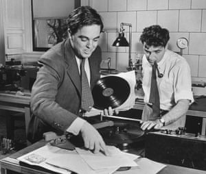 Alan Lomax and Jerome Weisner transcribing folk songs and documenting records in the Library of Congress, 1941.