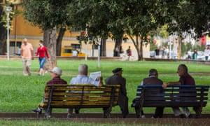 Albanians enjoy their morning in the main Green City Park in Tirana, Albania