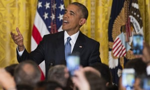 Barack Obama responds to a heckler in the White House