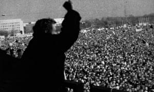 Václav Havel addresses a crowd of more than 500,000 in Prague during the Velvet Revolution in Novemb