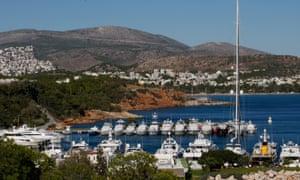Yachts in a Greek marina.