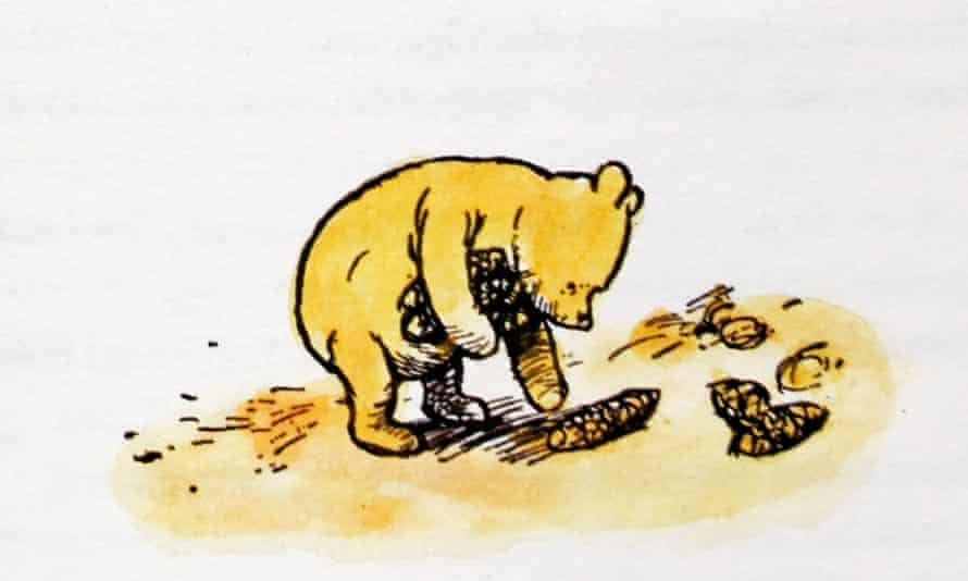 'When AA Milne referred to Pooh 'poohing in the sun', he unleashed decades of quiet merriment.' EH Shepard's illustration of Winnie the Pooh.