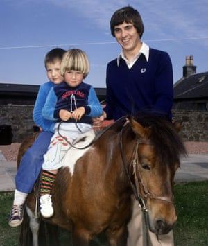 The Rangers and Scotland footballer Tom Forsyth on holiday with his children in 1978