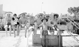 Derby County players on holiday in Majorca celebrate after learning that they have won the 1971-72 league title. The players were able to go on a short break after completing all their fixtures early, compared to several other clubs, including Liverpool and Leeds United, who could not catch Derby's points tally