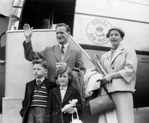 It is more a case of a busman's holiday for Preston and England footballer Tom Finney as he heads off to Northern Rhodesia for a six-week coaching tour in 1955. He was accompanied by his wife, Elsie, and children Brian and Barbara