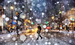 A snowstorm in New York.
