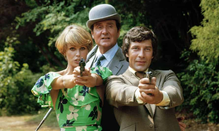 Joanna Lumley, Patrick Macnee and Gareth Hunt in the New Avengers, launched in 1976.