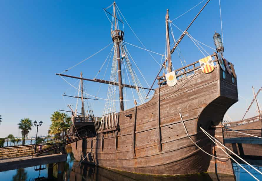Replicas of ships Columbus sailed to the Americas in at in La Rábida.
