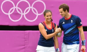 Laura Robson and Andy Murray win silver in the 2012 Olympic mixed doubles.