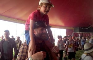 Father Sean and his son Francis at Glastonbury 2015