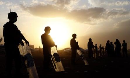 Turkish soldiers guard the Syrian-Turkish border near Sanliurfa, Turkey.