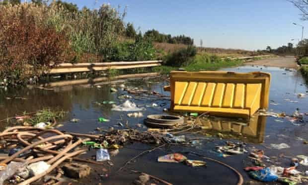 A street in the Riverlea township. Rainy season causes polluted water from Johannesburg's mine dumps to flood into local water courses.