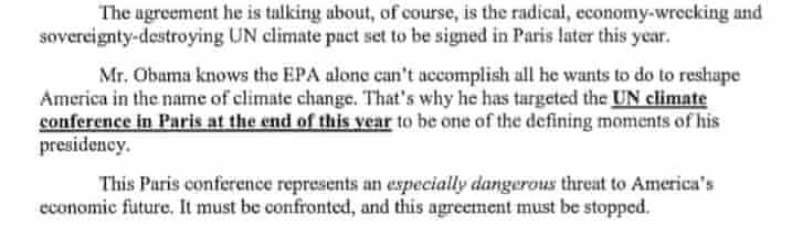Cfact letter on Paris climate summit
