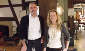 Managing director Ed Burstell with glassmaker Charlotte Sale.