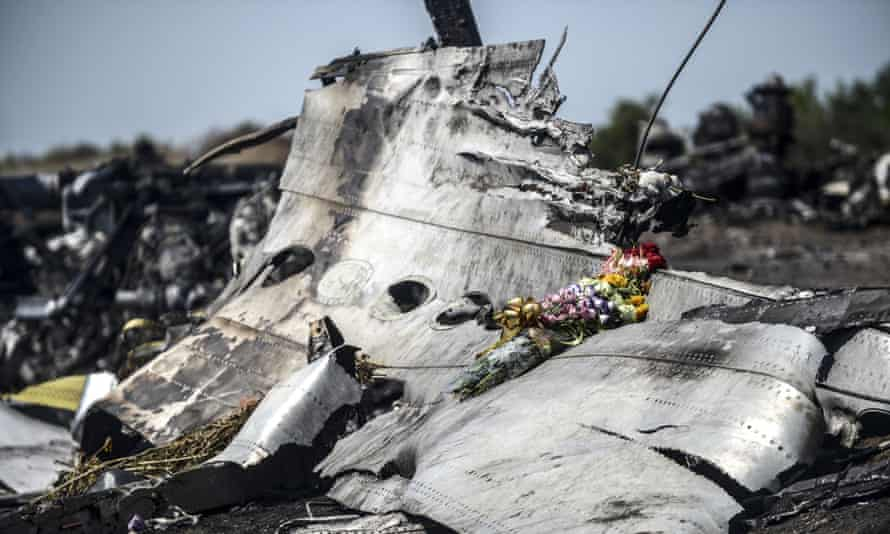 Part of the damaged fuselage of Malaysia Airlines flight MH17