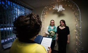 Lori Hazelton and Stephanie Ward marry in Muskegon, Michigan.