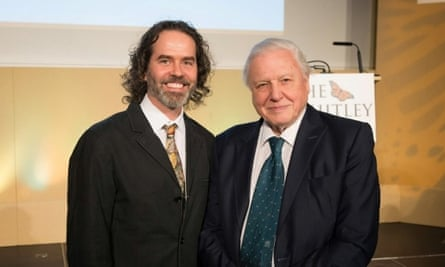 Arnaud Desbiez (left) with David Attenborough (right) at this year's Whitley Awards.