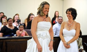 Lori Harvey and her partner, Amy Lipe, shrug off an awkward moment when deputy clerk Paula Majors asked Harvey if she was ready to get married, at the Civic Centre in Evansville, Indiana. When asked, Harvey hesitated but then came back with a resounding yes