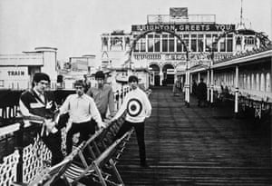 The Who, posing on Brighton Pier in mod revival style