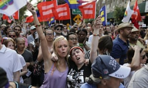 Emily Burke and Lindsay Meeks join a rally in Greenwich Village to celebrate the Supreme Court's ruling.