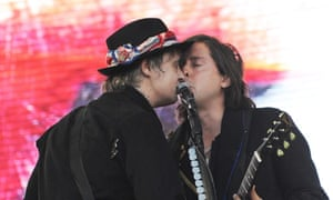 Pete Doherty and Carl Barat of the Libertines on the Pyramid stage on Friday.