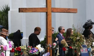 Mourners wait in line to attend the funeral of Cynthia Hurd, 54, at the Emanuel African Methodist Episcopal Church.