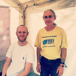 My fave person in Glastonbury. Neil the osteopath - check the fake pointy ears #guardianglasto