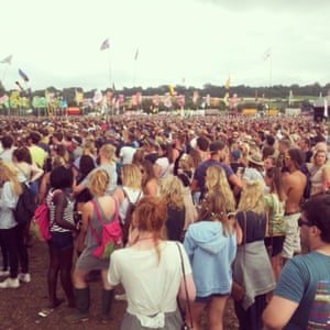 One corner of Clean Bandit's huge crowd at the Other stage. #guardianglasto #glasto2015