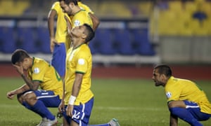 Brought low …  Brazil's Copa América defeat to Paraguay on penalties confirmed a downward spiral that may be traced back much further than last summer's World Cup humiliation.