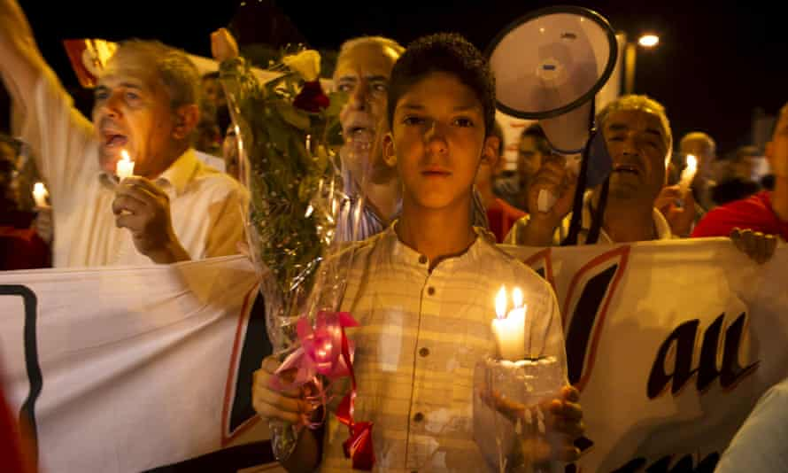 Local people and tourists held a candlelit vigil on Saturday evening.