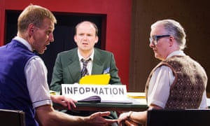 Richard Cant (Assistant), Rory Kinnear (Josef K) and Sarah Crowden (Information Officer) in The Trial.