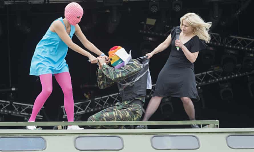 Pussy Riot in action on their Russian military lorry … Photograph: Guy Bell/Rex Shutterstock