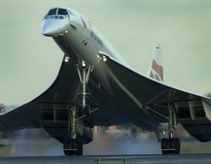 The last BA Concorde lands at   Heathrow  in October 2003