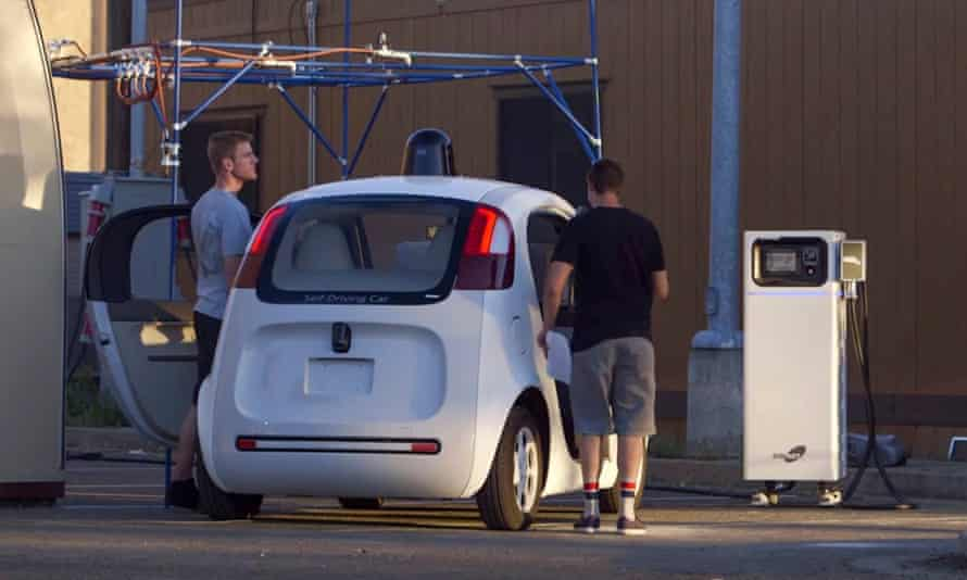 A Google self-driving car on the streets of Mountain View, California.
