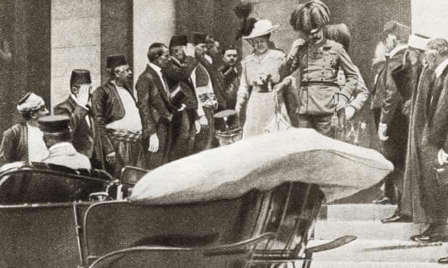 Franz Ferdinand Archduke of Austria and his wife Sophie, Duchess of Hohenberg moments before they were assassinated in Sarajevo on 28 June 1914.