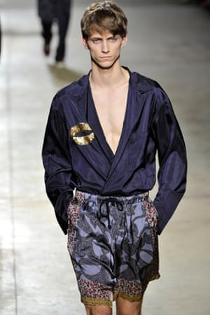 The Dries Van Noten show featured robes and short pyjamas.