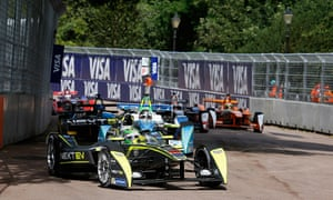 Nelson Piquet Jr of Brazil on his way to becoming the Formula E champion at Battersea Park