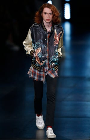 Checked shirts on the Saint Laurent Spring/Summer 2016 Menswear catwalk