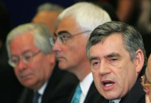 Mervyn King, Gordon Brown and Alistair Darling.