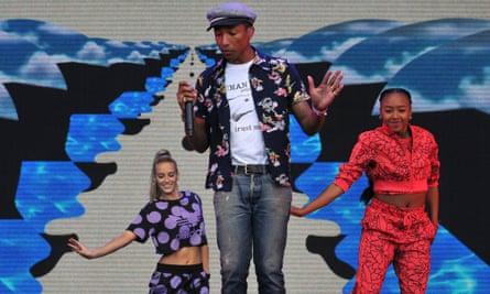 Pharrell Williams performs at Glastonbury.