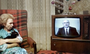 Mikhail Gorbachev delivers his televised New Year message, 1988.