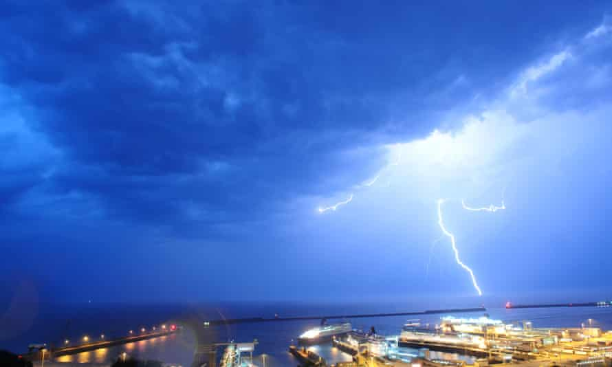 Unusual cloud formations and lightning seen over the English Channel at the Port of Dover on July 18, 2014 in Kent, England.