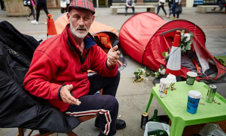 Paddy Reilly, one of the homeless protestors camped out in St Ann's Square in Manchester, highlighting the increasing numbers living on the city's streets.