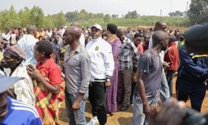 Pierre Nkurunziza stands in line to vote.